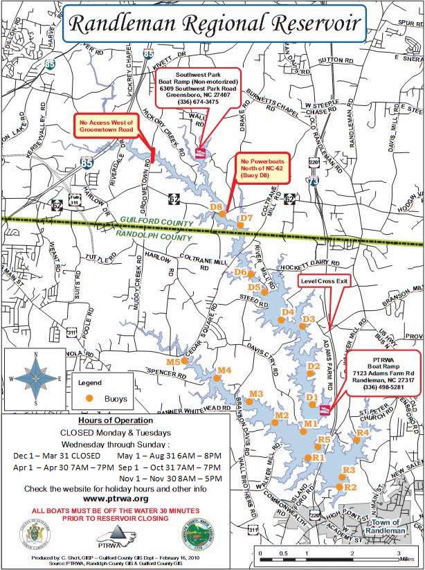 Map Of Randleman Lake - Check off map
